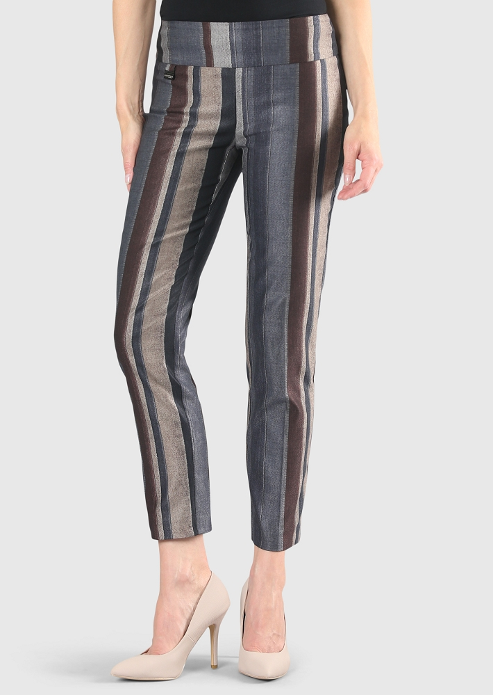 Lisette L. Slim Ankle Pant Style 55801 Algarve Stripe Pant Color Brown