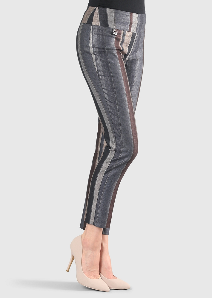 Lisette L. Skinny Leg Pant Style 55805 Algarve Stripe Color Brown