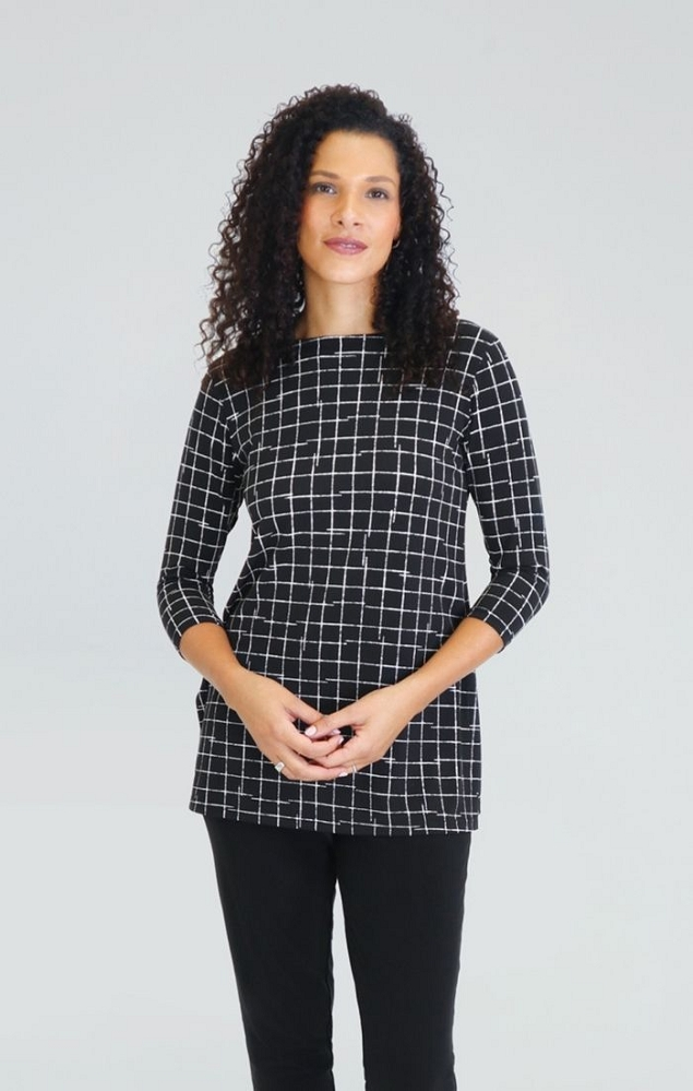 Sympli Nu Ideal Tunic 3/4 Sleeves, Style 23113-2 Color Small Crosshatch Black