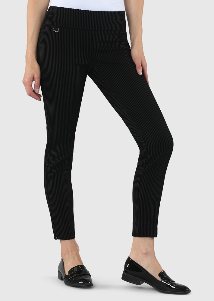 Lisette L. Slim Ankle Narrow Pant Style 58955 Ribiera Stripe Velvet Flocking Color Black