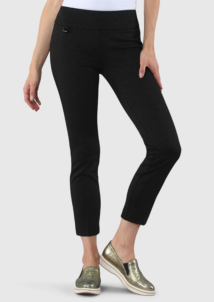 Lisette L. Slim Ankle Pants Style 59001 Pena Dot Velvet Flocking Color Black