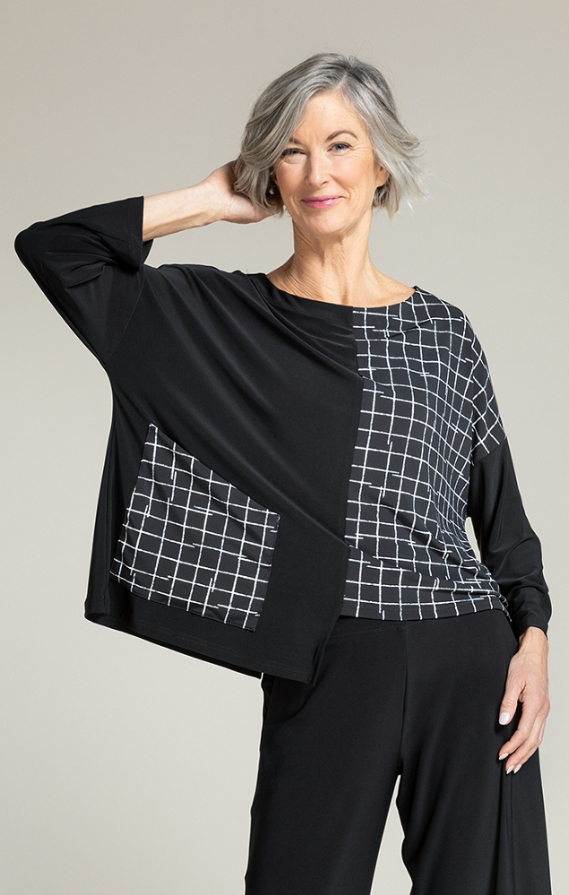 Sympli Etch Top Style 22223-3 Small Crosshatch, Long Sleeves, Color Black