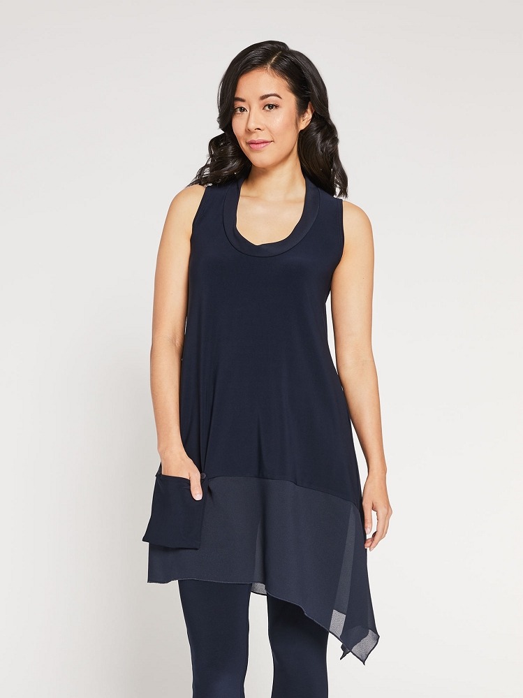 Sympli Womens Sleeveless Whisper Pocket Tunic Style 9104, 2 Colors Available