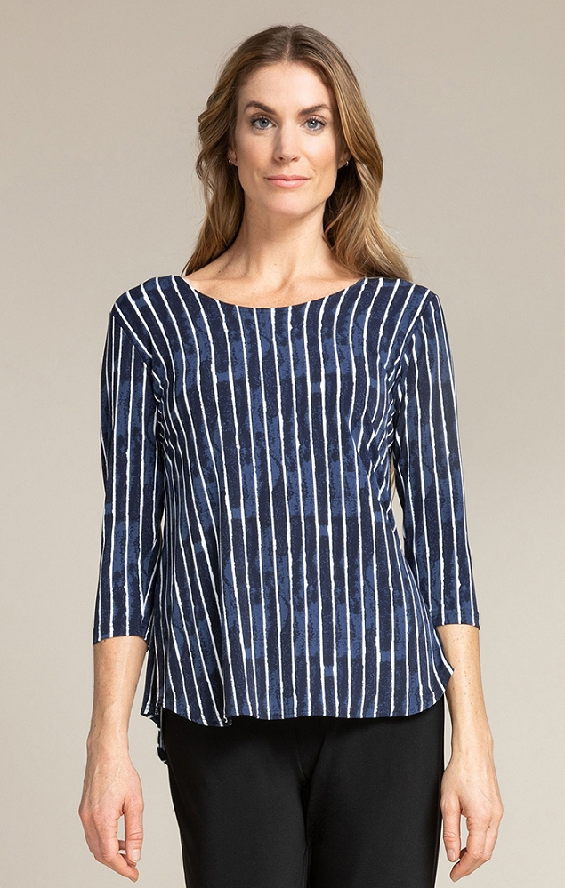 Sympli Womens Go To Classic 3/4 Sleeve Top Style 22110RCB-2 Painted Lines, 2 Colors Available