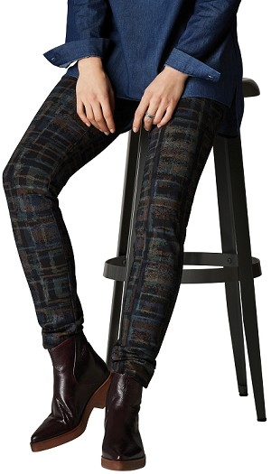 Lisette L. Slim Ankle Pants Style 12601 Silk Screen Hollywood Print Color Mallard Blue