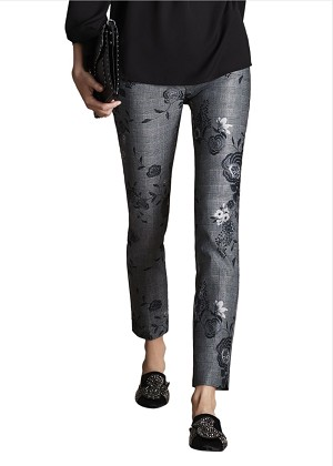 Lisette L. Slim Ankle Pant Style 426798 Glen Floral Print CP Twill With Front Zipper Color Black