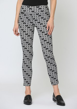 Lisette L. Slim Ankle Narrow Pant Style 60655 Heart Print Magical Lycra Color Black-White
