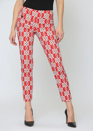 Lisette L. Crop Ankle Pant Style 63659 Maritime Print Color Red
