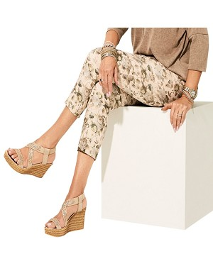 Lisette L. Slim Ankle Pant Style 32401 Silver Rose Print Color Beige
