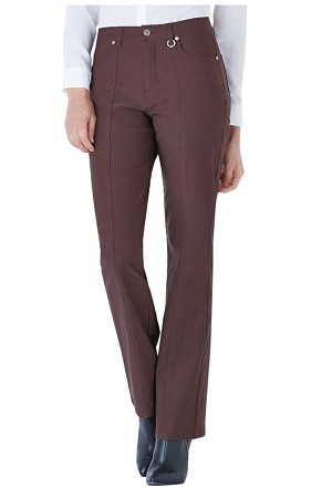 Simon Chang, Micro Twill Straight Legs Pants,Style 5302, Color Brown, Inseam 33""